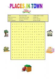 english worksheets places in town wordsearch. Black Bedroom Furniture Sets. Home Design Ideas