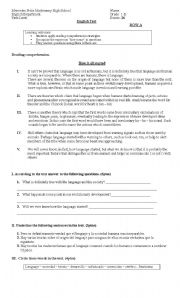 English Worksheets: Reading comprehension and there is / there are Test