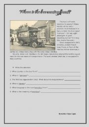English Worksheets: Where is the bus coming from?