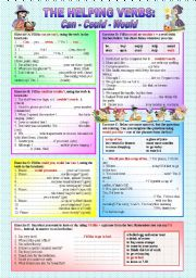 English Worksheet: �HELPING VERBS� - CAN - COULD - WOULD - (( 6 Exercises & 54 Sentences to complete )) - elementary to intermediate - (( B&W VERSION INCLUDED ))