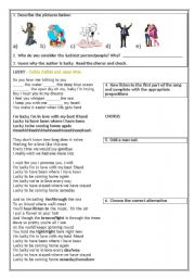 English Worksheet: SONG - LUCKY (COLBIE CAILLAT/ JASON MRAZ)