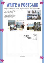 English Worksheet: Write a postcard