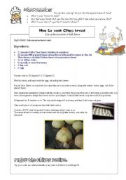 English Worksheet: Delicious Chipa bread recipe and COOKING VOCABULARY ( pre-intermediate)