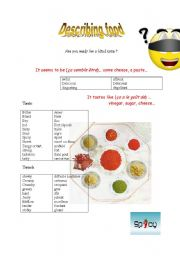 English Worksheet: food adjectives (describing food)