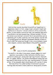 English Worksheets: Giraffe