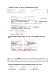English Worksheet: FALSE FRIENDS AND WORD PAIRS