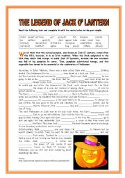 English Worksheets: LEGEND OF JACK O� LANTERN