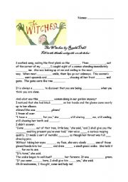 English Worksheet: The Witches Cloze Test