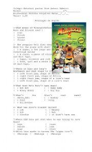 English Worksheet: Madagascar 2