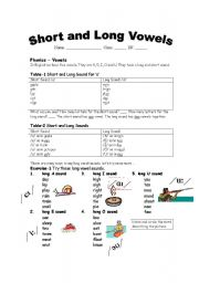 English Worksheet: Short and Long Vowels
