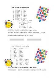 English Worksheets: Alphabet spelling pair activity