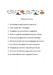 worksheet: Halloween Sentences (1/2)
