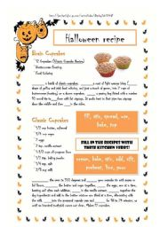 English Worksheet: HALLOWEEN RECIPES - BRAIN CUPCAKES