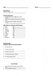 English Worksheet: Abstract Nouns