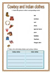 English Worksheet: Western Clothes: cowboys and indians