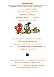 English Worksheet: A halloween story