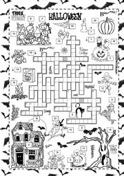 ESL worksheets for beginners: Halloween crossword