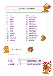 ORDINAL NUMBERS WITH GARFIELD