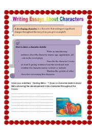 English Worksheets: writing about characters