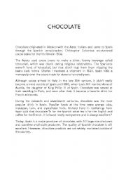 English Worksheets: CHOCOLATE