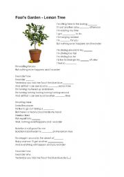 English Worksheet: Lemon Tree Song! Fill the gaps.