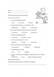 English teaching worksheets: Mickey Mouse