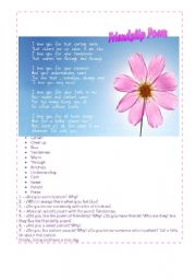 English Worksheet: A friendship poem!