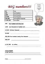 Big numbers - ESL worksheet by kingugidora5000