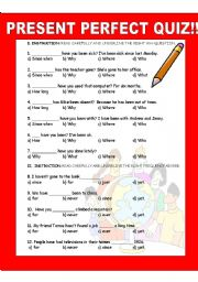 PRESENT PERFECT TENSE QUIZ!!!! - ESL worksheet by ...