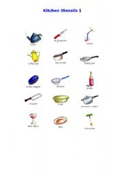 Kitchen Utensils 1 - Pictures - ESL worksheet by kerberos