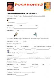 English Worksheet: Pocahontas oral comprehension (With the video)