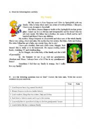 English Worksheet: Reading and comprehension text about family - Simpsons (2 sheets)