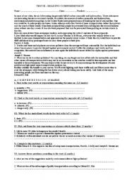 English Worksheets: Reading Comprehension test