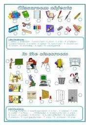 English Worksheet: Classroom objects: label the pictures (editable)