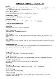 Renewable and non renewable energy worksheet- advanced