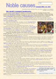 English Worksheets: Noble causes part 1 - Babar Ali, the youngest headmaster in the world