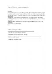 English Worksheets: easy reading comprehension