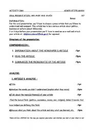 English Worksheets: ARTICLE ANALYSE (teacher�s note)