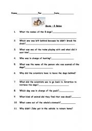 English Worksheets: 8 below moive questions