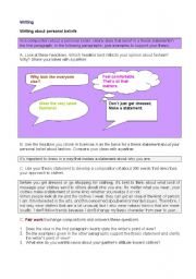 English Worksheets: Writing about beliefs