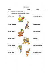 English Worksheets: Action Animals
