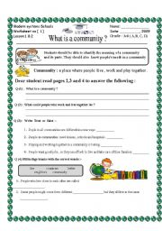 English Worksheets: what is a community