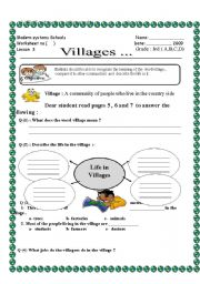 English Worksheets: Vilages Social studies