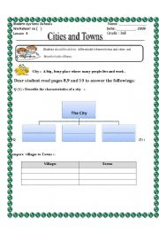 English Worksheets: cities and towns