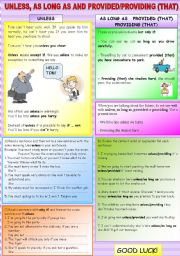 English Worksheet: UNLESS,AS LONG AS AND PROVIDED/PROVIDING(THAT)