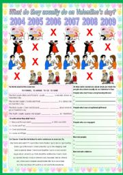 English Worksheet: What do they usually do on Valentine´s day?