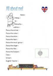 English Worksheets: Boy�s profile