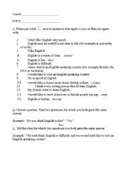 English Worksheets: Attitudes and objectives questionaire.