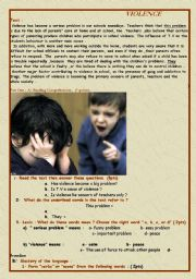 English Worksheet: Violence
