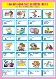 English Worksheets: Like, love and hate multiple choice